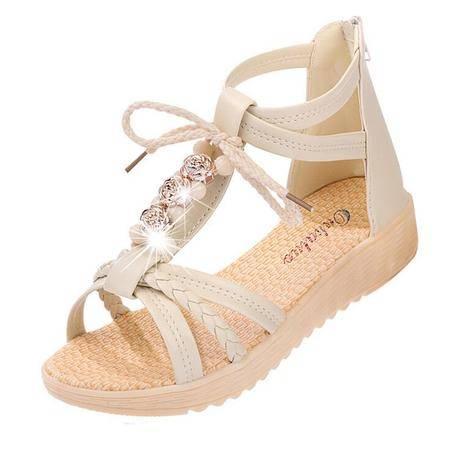 2016夏季罗马女式平底凉鞋休闲时尚水钻女学生甜美沙滩女鞋潮