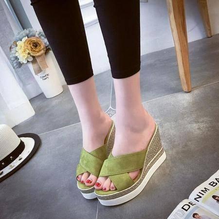 2016夏季女士凉鞋坡跟学院风女鞋松糕鱼嘴厚底平底一字女拖鞋
