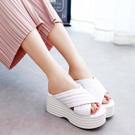 2016夏季新款欧美坡跟女凉鞋鱼嘴松糕厚底防水台高跟女鞋