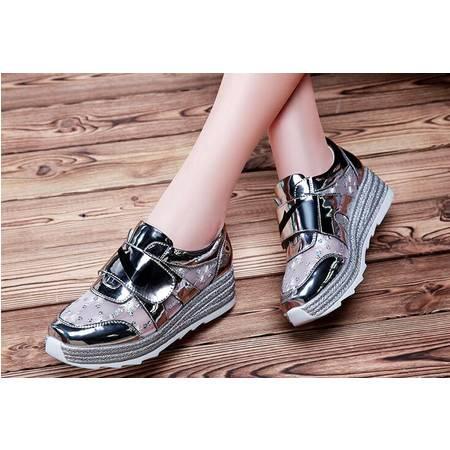 坡跟运动休闲鞋女松糕厚底鞋透气网鞋2016夏季新款韩版百搭女鞋子