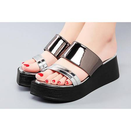 松糕拖鞋女夏时尚外穿坡跟凉拖2016新款厚底一字拖夏天鞋子