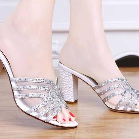 凉拖鞋女室外粗跟高跟拖鞋2016新款时尚水钻一字拖夏天鞋子