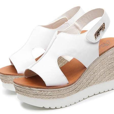 厚底鞋女夏真皮室外松糕底坡跟凉鞋2016新款百搭高跟