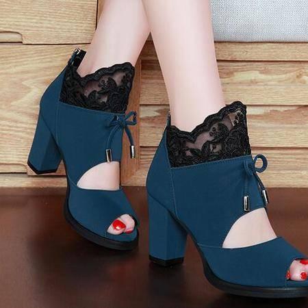 嘴鞋粗跟高跟鞋女镂空蕾丝单鞋女2016春夏新款欧美女鞋子