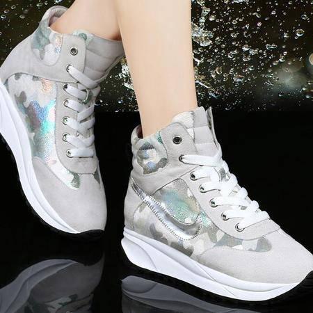 秋季女鞋厚底高帮运动鞋潮女新款平底增高单鞋韩版休闲鞋女