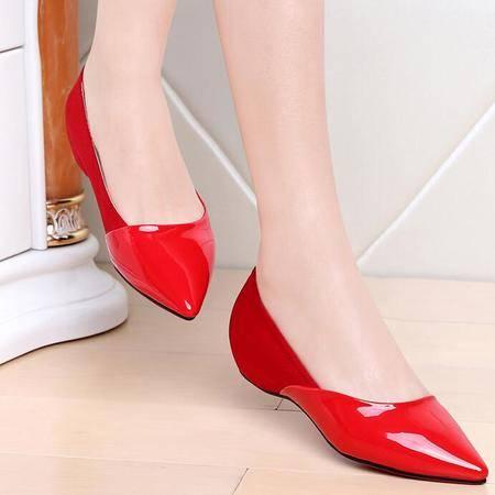 内增高单鞋女2016春秋新品浅口平底鞋漆皮时尚低跟尖头女鞋