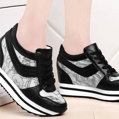 春秋季女鞋摇摇鞋女厚底松糕鞋隐形内增高运动鞋韩版透气休闲单鞋