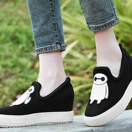 鞋子女韩版内增高运动风休闲单鞋厚底坡跟松糕乐福鞋女平底帆布鞋