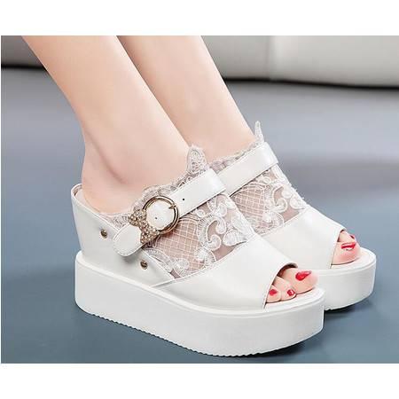 2016夏季新款时尚厚底松糕白色拖鞋韩版坡跟高跟女鞋凉拖夏天