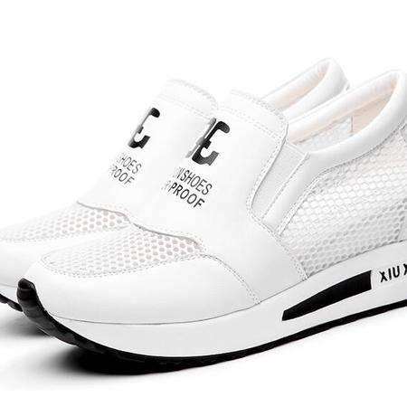 内增高女鞋2016春夏新款韩版平底休闲鞋跑步运动鞋透气网面鞋