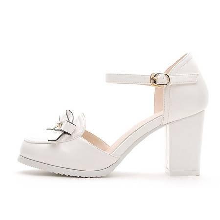 甜美单鞋女粗跟2016春秋新款中跟女鞋蝴蝶结高跟包头凉鞋夏天