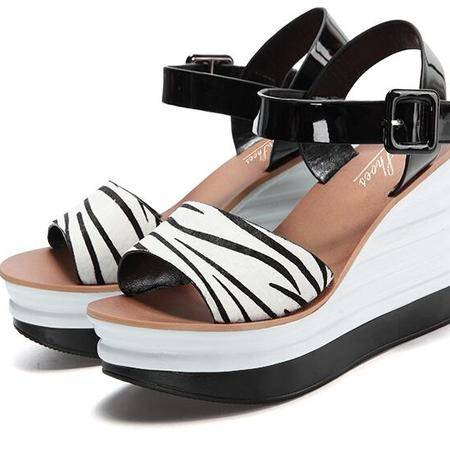 舒适坡跟凉鞋女高跟厚底防水台鱼嘴鞋2016春夏新款罗马女鞋子