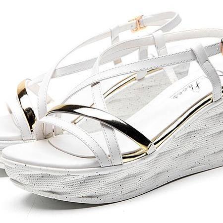 2016夏天新款女鞋子舒适坡跟凉鞋女厚底露趾一字扣高跟鞋百搭