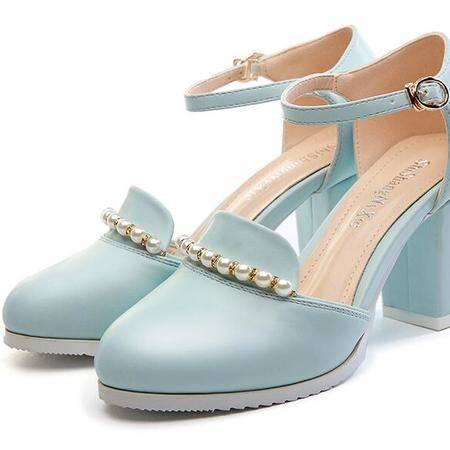 2016春夏新款中跟单鞋女粗跟一字扣带凉鞋女高跟包头韩版女鞋