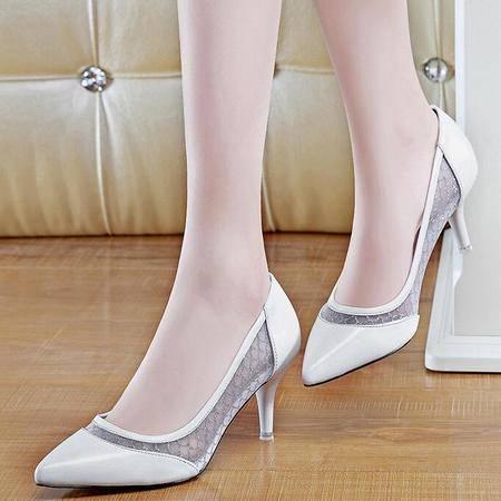 浅口单鞋女2016春季新款皮鞋尖头细跟高跟鞋OL通勤套脚工作鞋