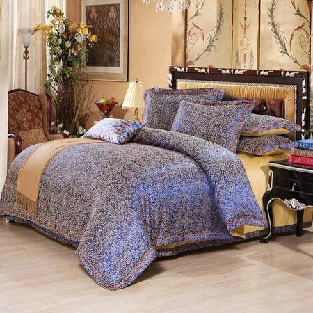 高档欧式奢华丝织贡缎提花纯棉四件套床上用品