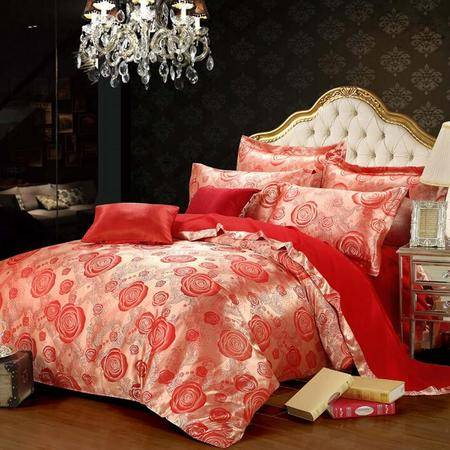 奢华欧式婚庆套件优卡丝贡缎提花四件套床上用品