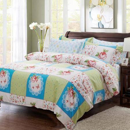个性田园宜家混搭床上用品简约磨毛四件套床单被套