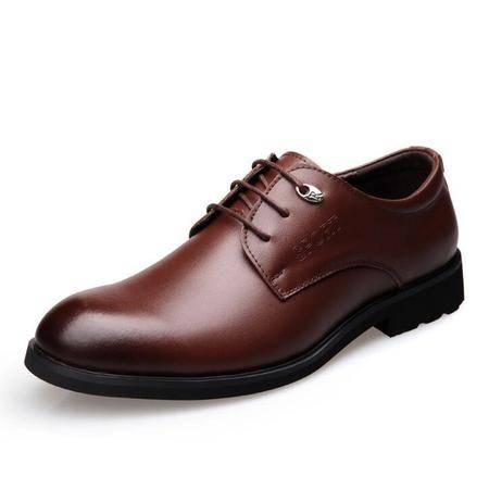 2016春季新款真皮男鞋商务正装男士皮鞋低帮系带尖头婚鞋子