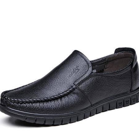 男士皮鞋真皮夏季休闲鞋皮鞋软底套脚中年爸爸鞋透气凉皮鞋子