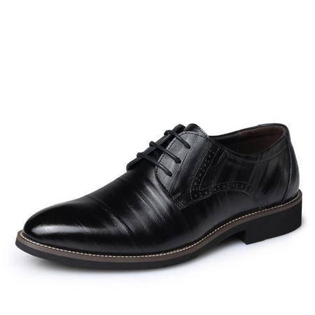 男鞋真皮休闲皮鞋潮真皮系带正装皮鞋男结婚鞋子