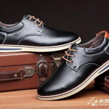 皮鞋真皮休闲男鞋英伦男士系带低帮男皮鞋子透气 潮