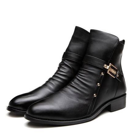 2016新款单靴时尚尖头 潮流休闲短靴皮靴子