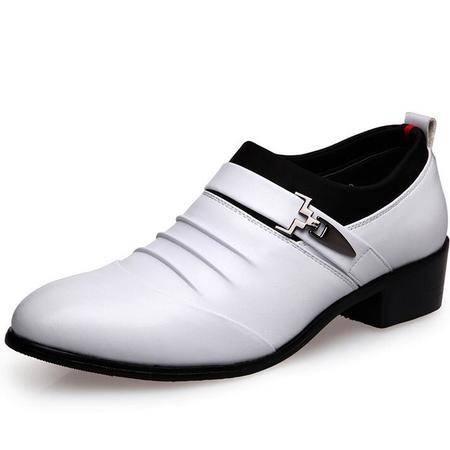 春秋季新款男士商务正装皮鞋男低帮套脚单鞋结婚鞋透气尖头男鞋