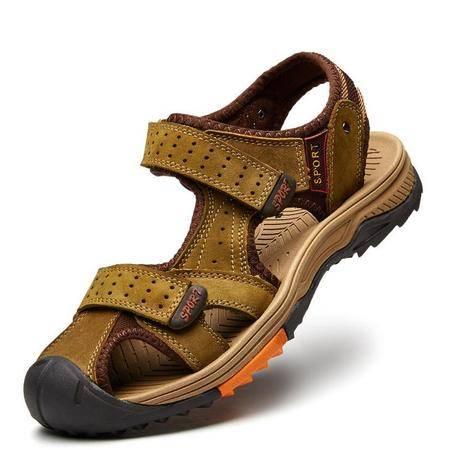 男士头层牛皮凉鞋夏季透气真皮凉鞋休闲包头沙滩鞋防滑男鞋
