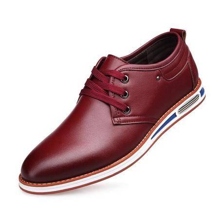 男士日常休闲皮鞋夏季透气皮鞋男英伦男鞋系带鞋子潮鞋男