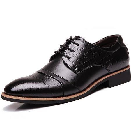 男鞋子男士真皮商务休闲皮鞋潮婚鞋系带低帮透气鞋子男