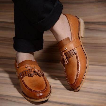 2016新款春季新款男士休闲皮鞋子时尚布洛克
