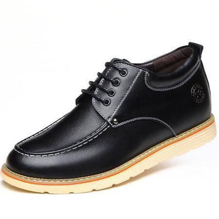 春夏季内增高6cm男鞋男士休闲皮鞋男真皮休闲鞋男英伦系带潮鞋子