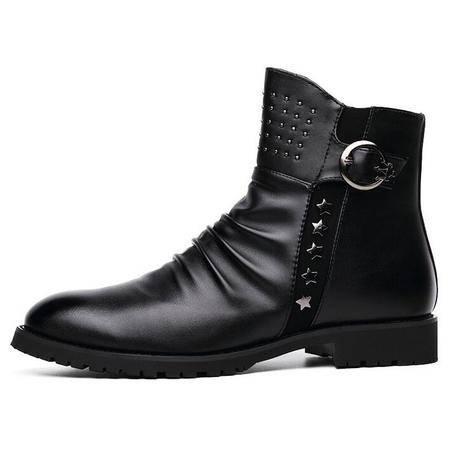 秋冬季休闲男士马丁靴男英伦高帮鞋尖头军靴韩版潮流男靴短靴