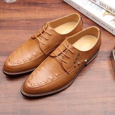 春季新款男小白皮鞋子 商务休闲潮流男鞋 尖头系带男单鞋