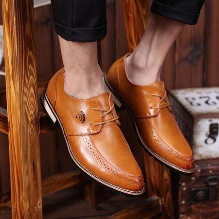 新款男士休闲皮鞋子潮尖头系带透气英伦品牌男鞋