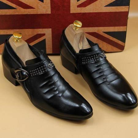 新款男鞋2016商务男士结婚带钻