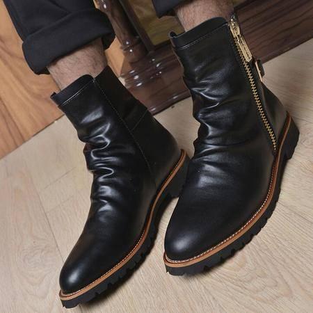 男罗马靴子欧美风男士保暖加棉时尚百搭
