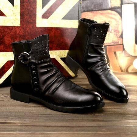 2016冬季新款休闲短靴男士高帮男鞋时尚潮马丁靴增高皮靴
