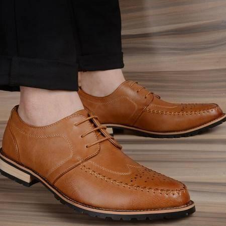 男士商务皮鞋尖头男鞋潮时尚正装系带单鞋婚鞋