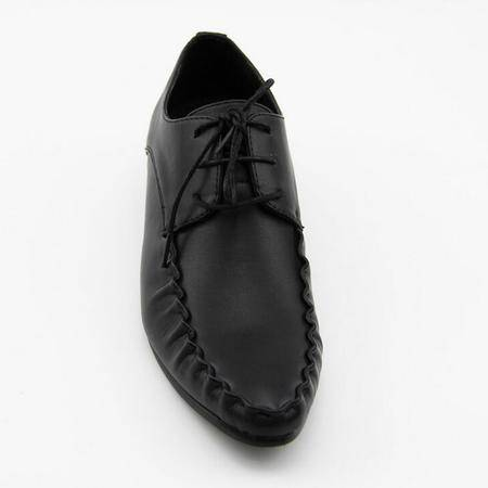 夏季新款男鞋真皮品牌男鞋潮鞋尖头坡跟鞋豆豆鞋