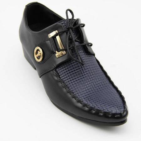 夏季男士皮鞋 正品真皮豆豆鞋鞋潮尖头坡跟鞋