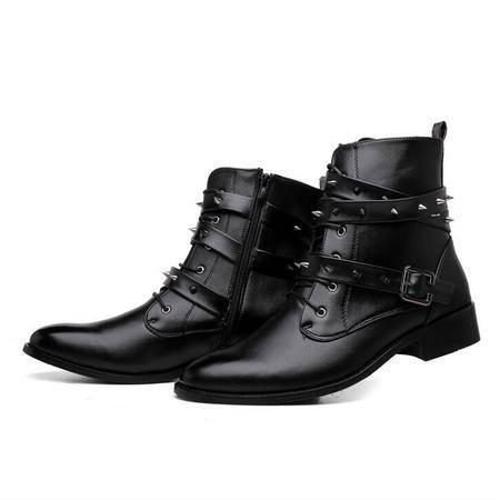 冬季新款男靴子英伦韩版男靴皮靴时尚中筒靴