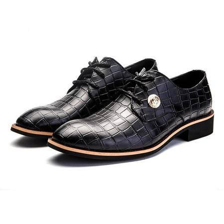 新款男鞋2016头层牛皮休闲系带坡跟男士下皮鞋子