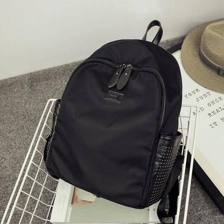 牛津布配真皮双肩包2016新款铆钉大容量韩版书包妈咪背包
