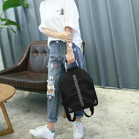 2016时尚双肩包防水牛津配真皮韩版背包 女士包包X铆钉潮人旅行包