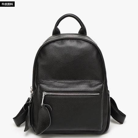 016新款欧美时尚简约学生大容量旅行背包牛津布配真皮女士双肩包
