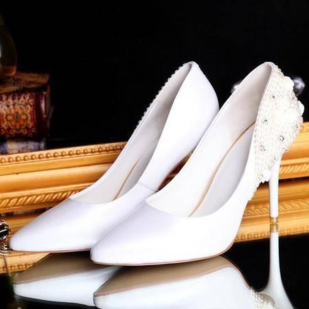 韩版高跟尖头浅口纯色宴会伴娘女鞋低帮透气酒杯跟潮流女式单鞋
