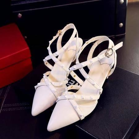 女凉鞋2016夏季新款 铆钉拼色细跟潮流包头凉鞋女 韩版凉鞋