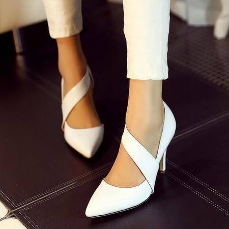 单鞋女2016欧美新款真皮尖头高跟纯色尖头 细跟高跟鞋浅口高跟鞋